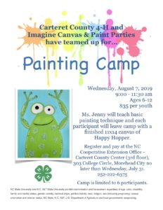Painting Camp Flyer - August 7, 2019 from 9:00-11:30 am at the Carteret County Center