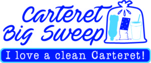Shows Carteret Big Sweep Logo that says I love a clean Carteret and shows a full trash bag.