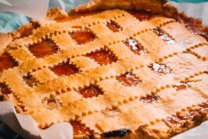 Photo of baked pie with lattice top