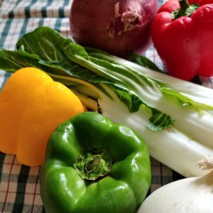Photo of Vegetables: bok choy, peppers, and onions