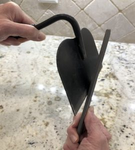 Sharpening a garden hoe