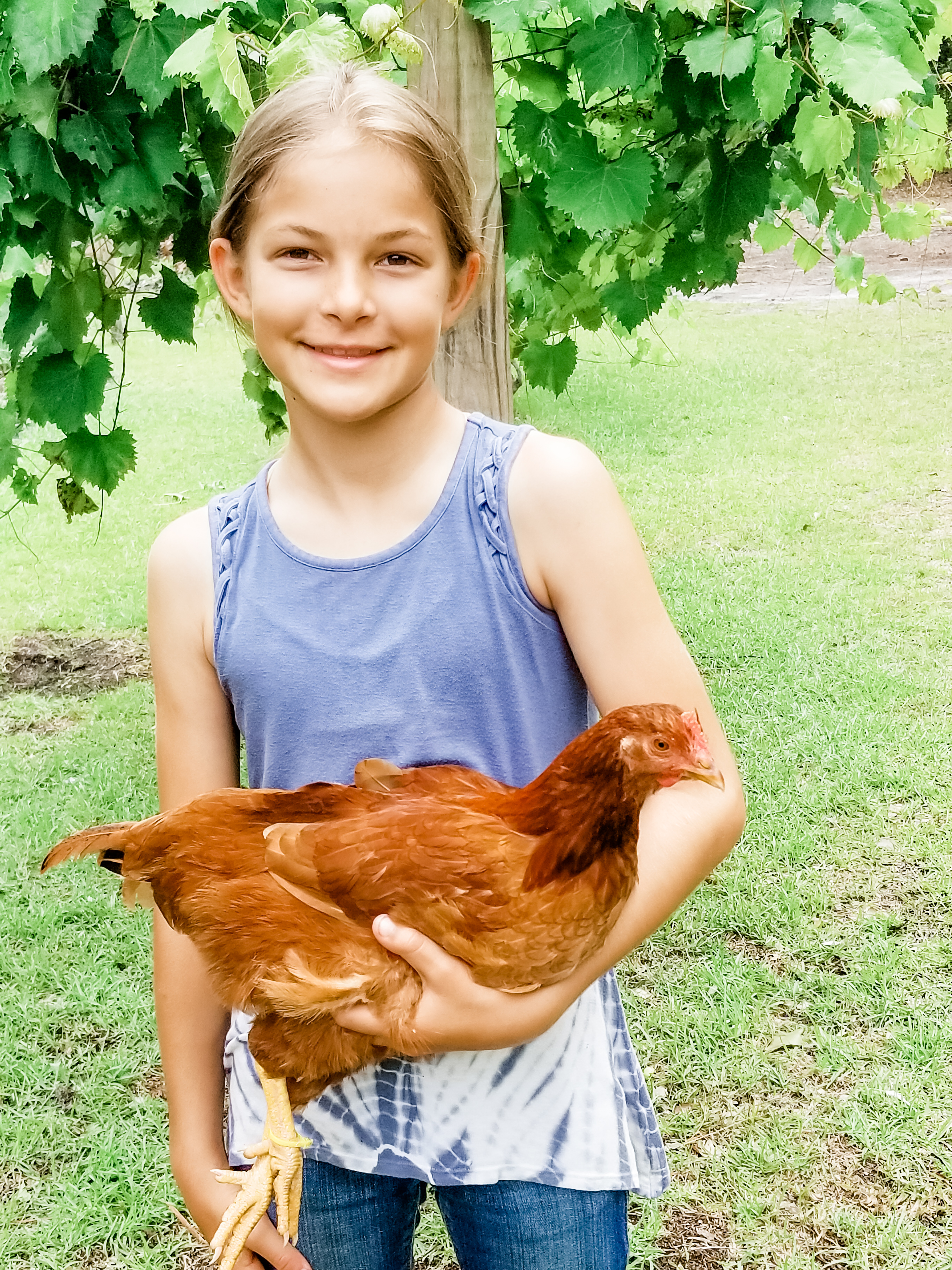 Sayla and her chicken